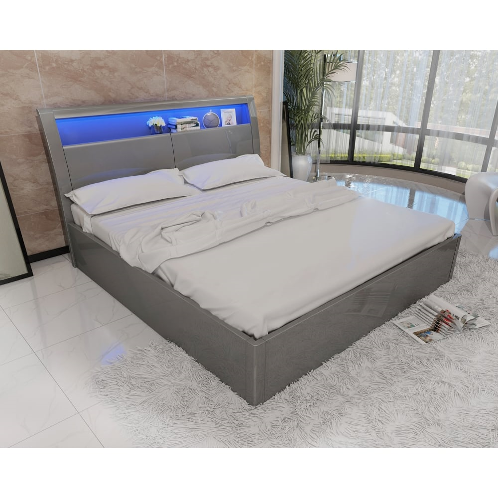 Madrid High Gloss Storage Ottoman Bedframe